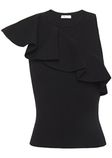 A.l.c. Woman Ruffle-trimmed Ribbed-knit Top Black
