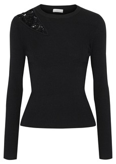 A.l.c. Woman Terence Lace-paneled Ribbed Wool-blend Sweater Black