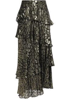 A.l.c. Woman Tiered Metallic Fil Coupé Silk-blend Maxi Skirt Gold