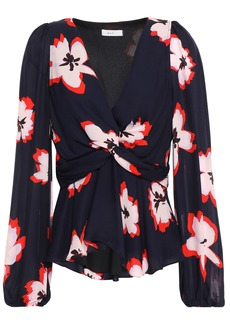 A.l.c. Woman Twist-front Floral-print Silk-crepe Blouse Midnight Blue