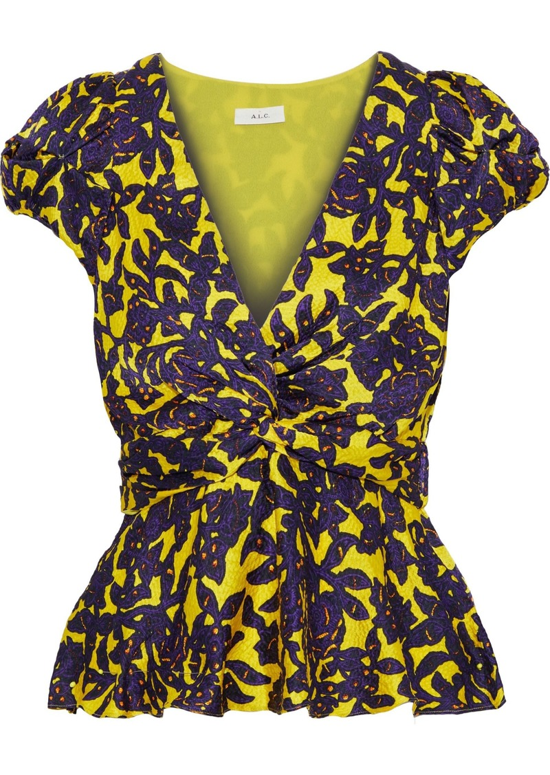 A.l.c. Woman Twisted Printed Hammered-silk Top Yellow