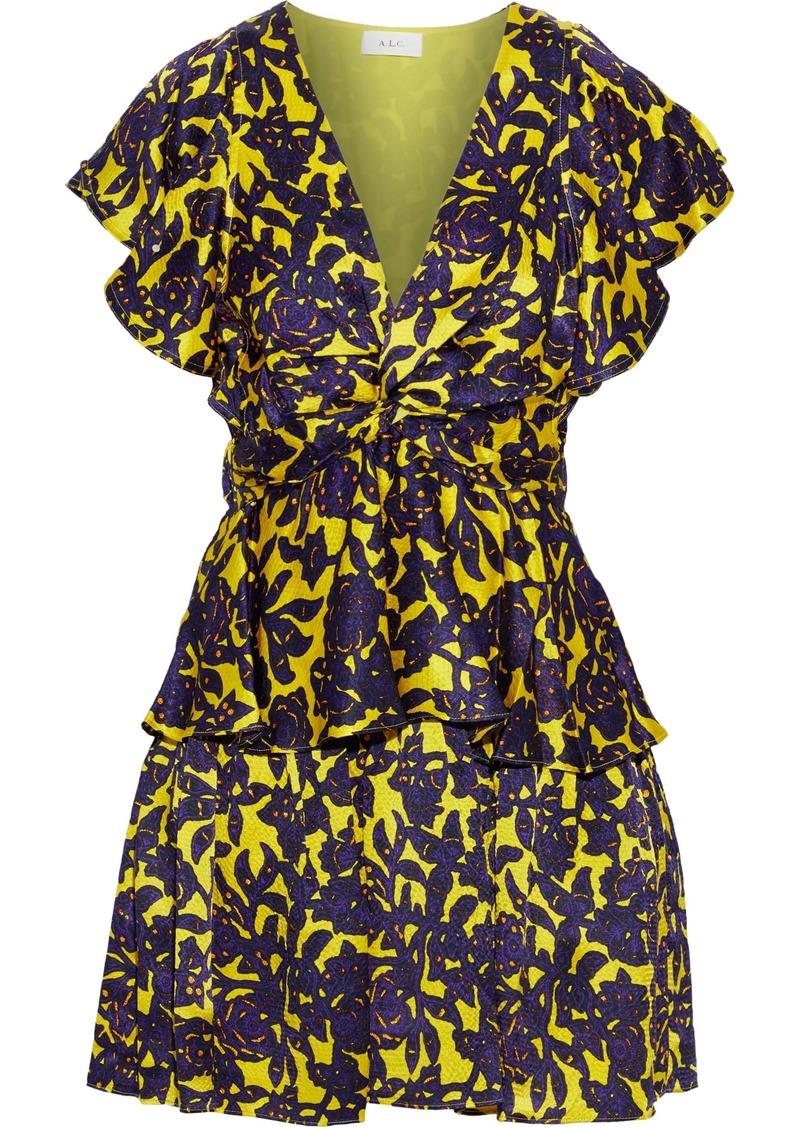 A.l.c. Woman Viera Twist-front Floral-print Hammered-silk Mini Dress Yellow