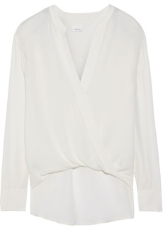 A.l.c. Woman Wrap-effect Silk-crepe Blouse Off-white