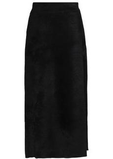 A.l.c. Woman Wrap-effect Velvet Midi Skirt Black