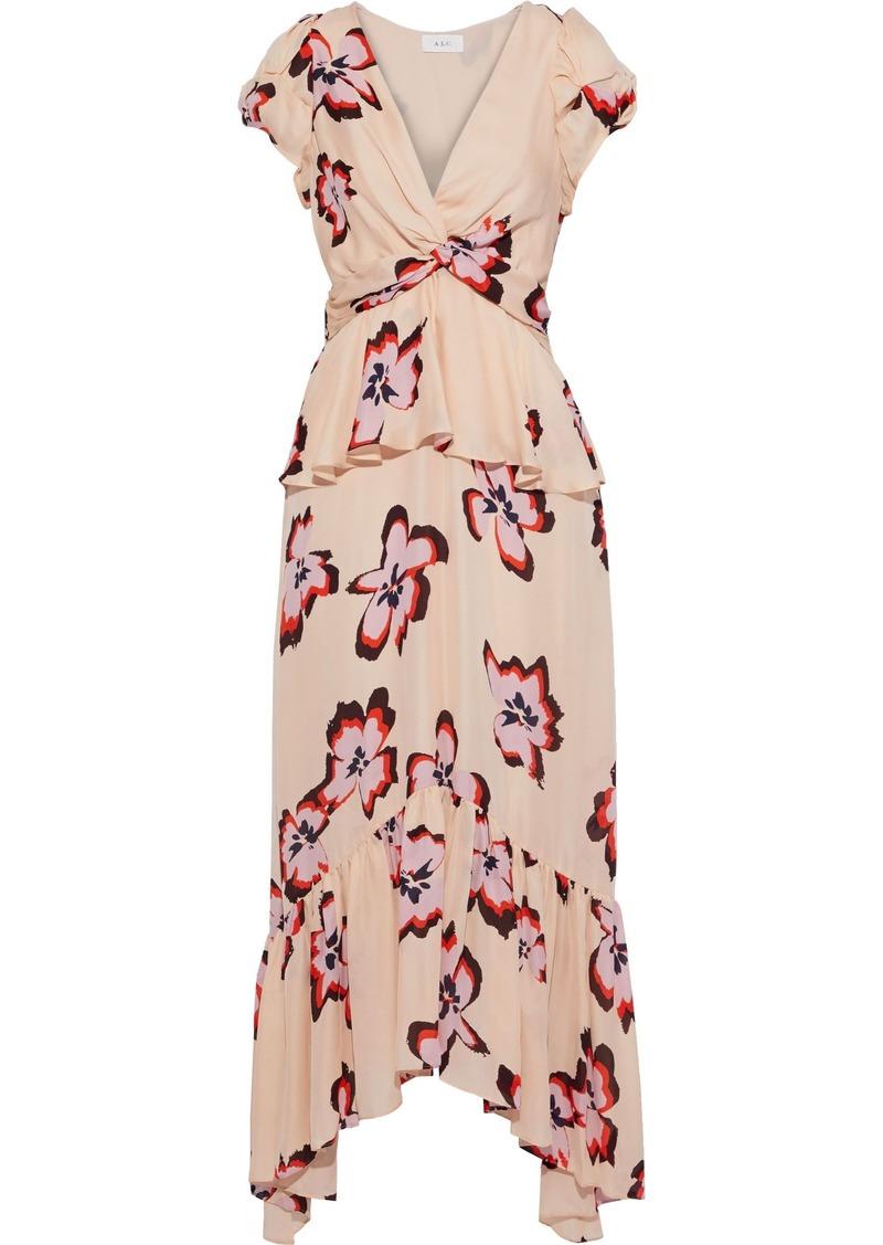 A.l.c. Woman Zadie Twist-front Floral-print Silk Crepe De Chine Midi Dress Blush