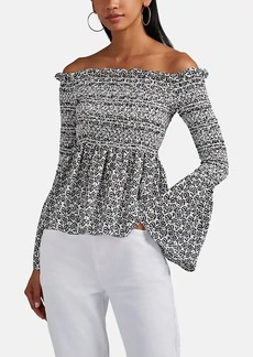 A.L.C. Women's Agra Smocked Floral Silk Off-The-Shoulder Top