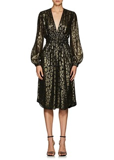 A.L.C. Women's Samantha Leopard-Pattern Silk-Blend Midi-Dress