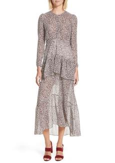 A.L.C. Zandra Leopard Print Silk Midi Dress