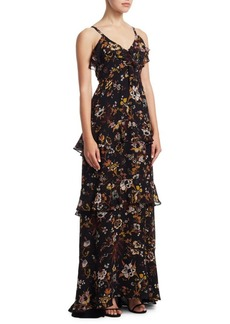 A.L.C. Zaydena Floral Silk Maxi Dress