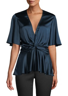 A.L.C. Alma Silk Flutter-Sleeve V-Neck Top