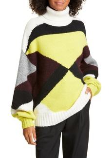A.L.C. Angelou Geo Colorblock Turtleneck Sweater