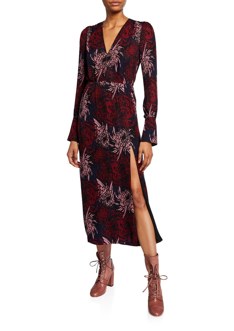 A.L.C. Bailey Long-Sleeve Printed Midi Dress