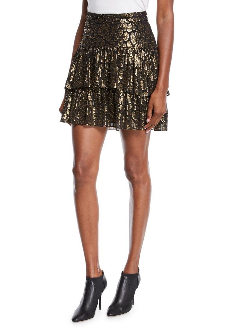 A.L.C. Baxter Tiered Metallic Ruffle Skirt