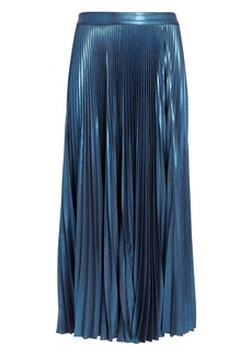 A.L.C. Bobby Blue Metallic Pleated Skirt