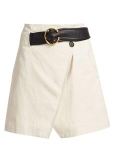 A.L.C. Cami Belted Linen A-Line Wrap Skirt