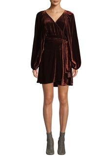 A.L.C. Carlo Velvet Long-Sleeve Wrap Dress