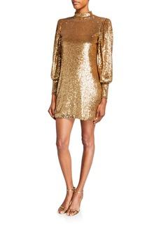 A.L.C. Christy Sequin Mock-Neck Blouson-Sleeve Mini Dress