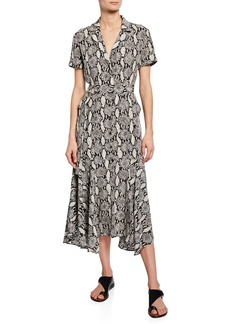 A.L.C. Clarkson Snake-Print Midi Shirt Dress