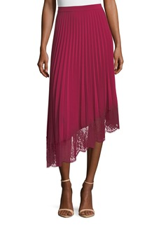 A.L.C. Claude A-Line Pleated Skirt with Lace Hem