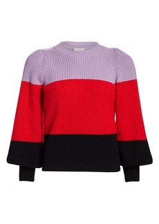 A.L.C. Sammy Colorblock Puff-Sleeve Sweater