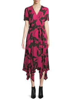 A.L.C. Cora Floral-Print Silk Midi Wrap Dress