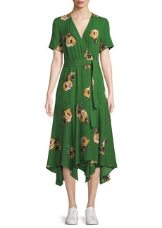 A.L.C. Cora Floral Silk Wrap Midi Dress