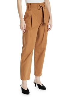 A.L.C. Diego High-Waist Belted Cotton-Stretch Pants