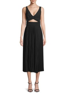 A.L.C. Eliana Pleated Cutout Midi Dress