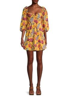 A.L.C. Elle Floral Puff-Sleeve Dress