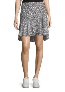 A.L.C. Farrow Mini-Floral Silk Flounce Skirt
