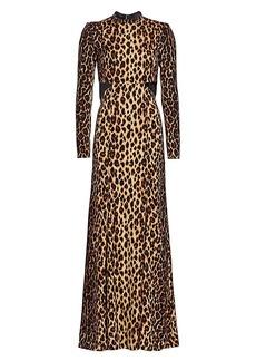 A.L.C. Gabriella Leopard Stretch-Silk Column Gown