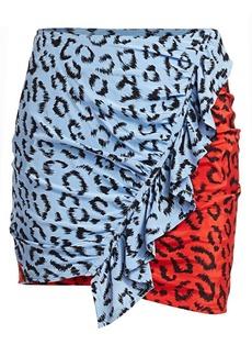 A.L.C. Geller Leopard Print Sretch Silk Mini Skirt