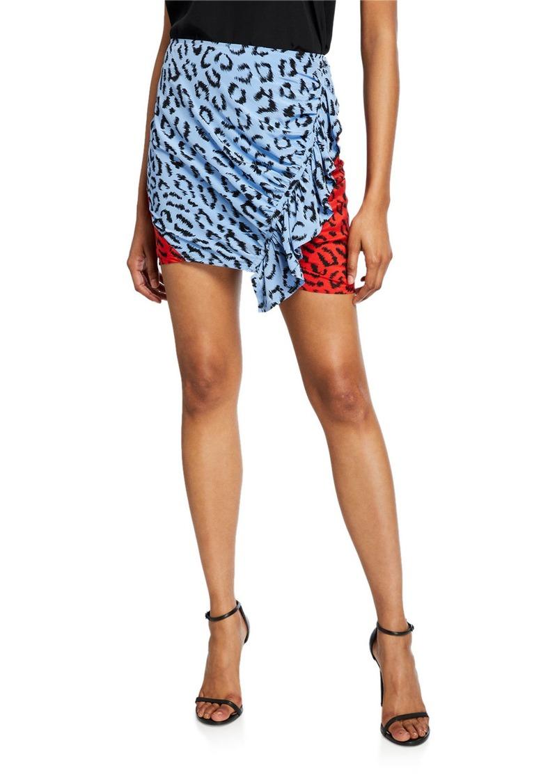 A.L.C. Geller Printed Two-Tone Ruffle Skirt