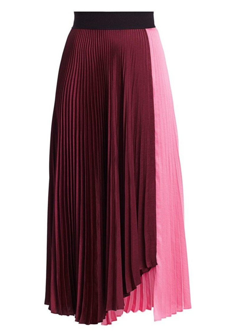 A.L.C. Grainger Colorblock Pleated Midi Skirt