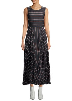 A.L.C. Halle Striped Pleated Open-Back Long Dress