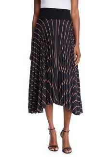 A.L.C. Henry Striped Pleated Midi Skirt