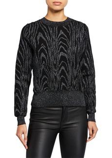 A.L.C. Jesper Metallic Animal-Print Sweater