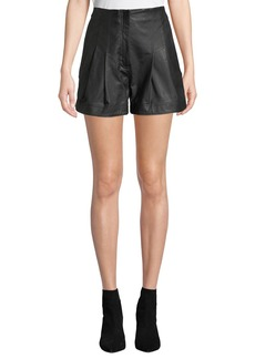 A.L.C. Julian High-Rise Pleated Leather Shorts