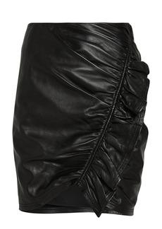 A.L.C. Jupiter Ruched Leather Mini Skirt