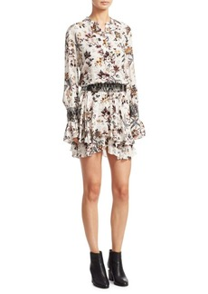 A.L.C. Landry Ruffled Hem Silk Dress