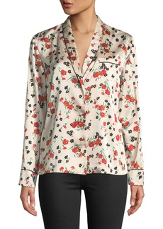 A.L.C. Leomie Floral-Print Silk Button-Front Top