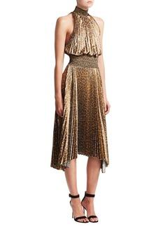 A.L.C. Leopard Renzo Pleated A-Line Handkerchief Dress