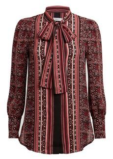 A.L.C. Leslie Paisley Silk Chiffon Blouse