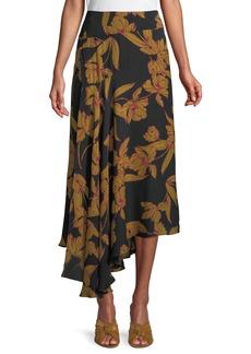 A.L.C. Lev A-Line Floral-Print Silk Midi Skirt