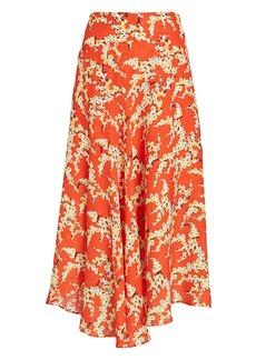 A.L.C. Lev Floral Asymmetrical Slip Skirt