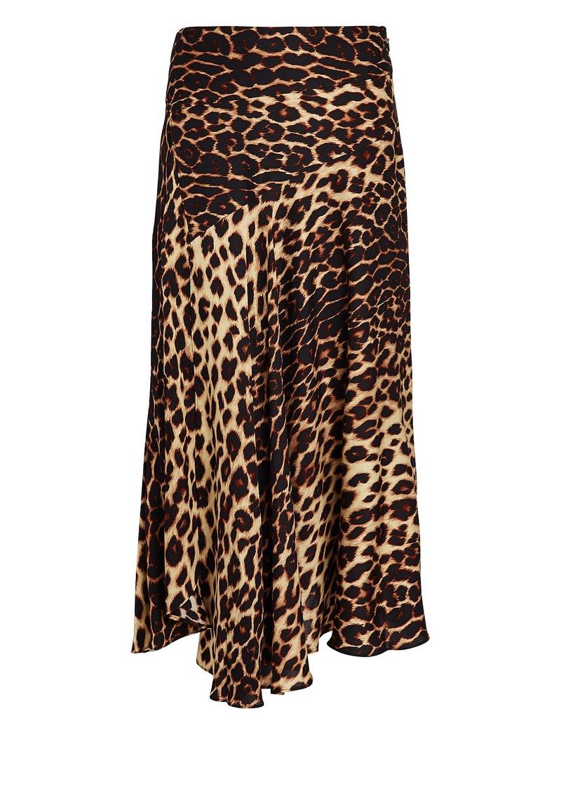 A.L.C. Lev Leopard Asymmetrical Slip Skirt
