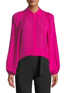 A.L.C. Lori Collared Button Front Blouson-Sleeve Silk Top