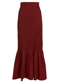 A.L.C. Lyra Smocked Poplin Midi Skirt