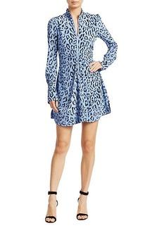 A.L.C. Marcella Leopard-Print Silk Long-Sleeve Dress