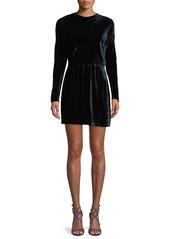 A.L.C. Marin Short Long-Sleeve Cowl-Neck Velvet Dress